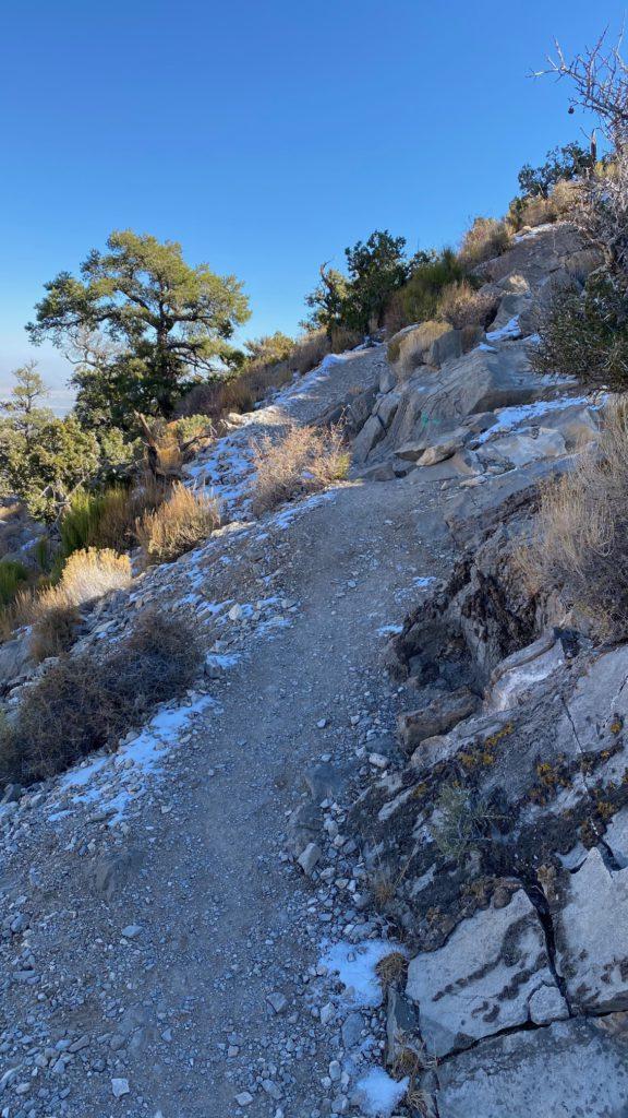Snow on a desert trail