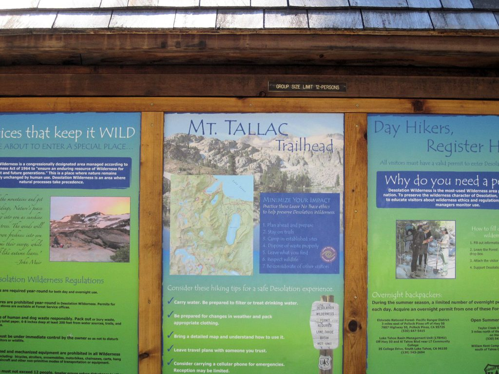 Mt Tallac Trailhead sign