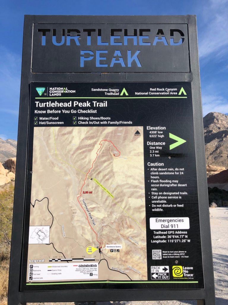 Turtlehead Peak Trailhead Sign
