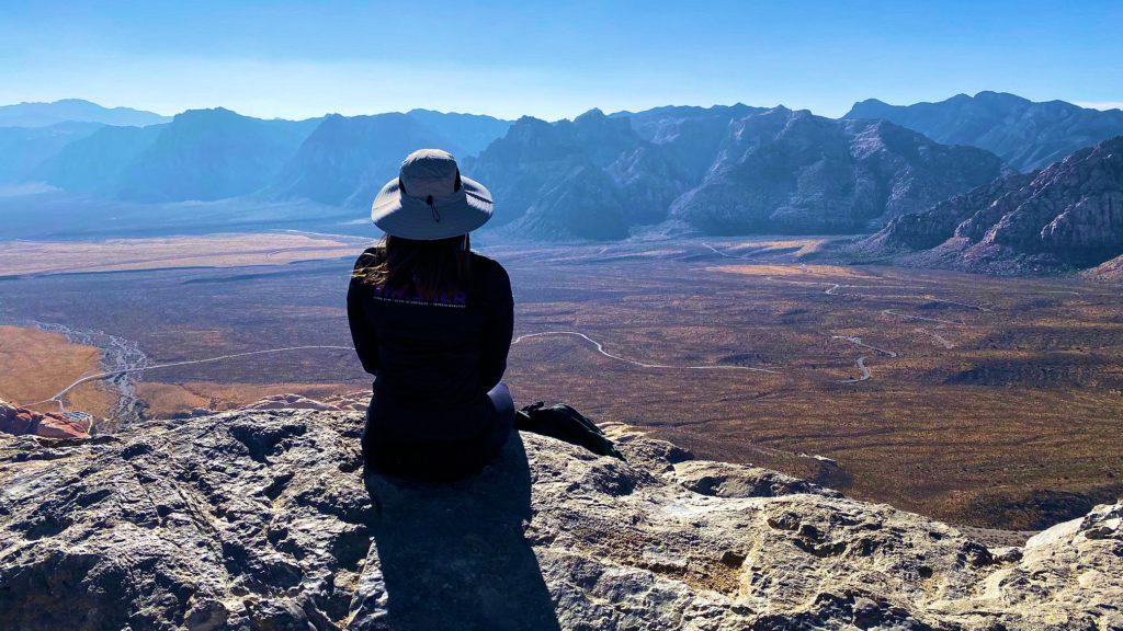 Woman on summit of Turtlehead peak