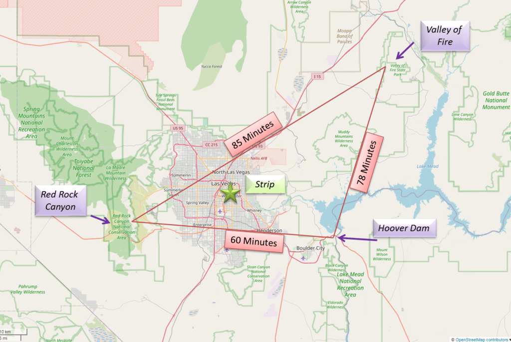 Map with travel times to popular Vegas destinations