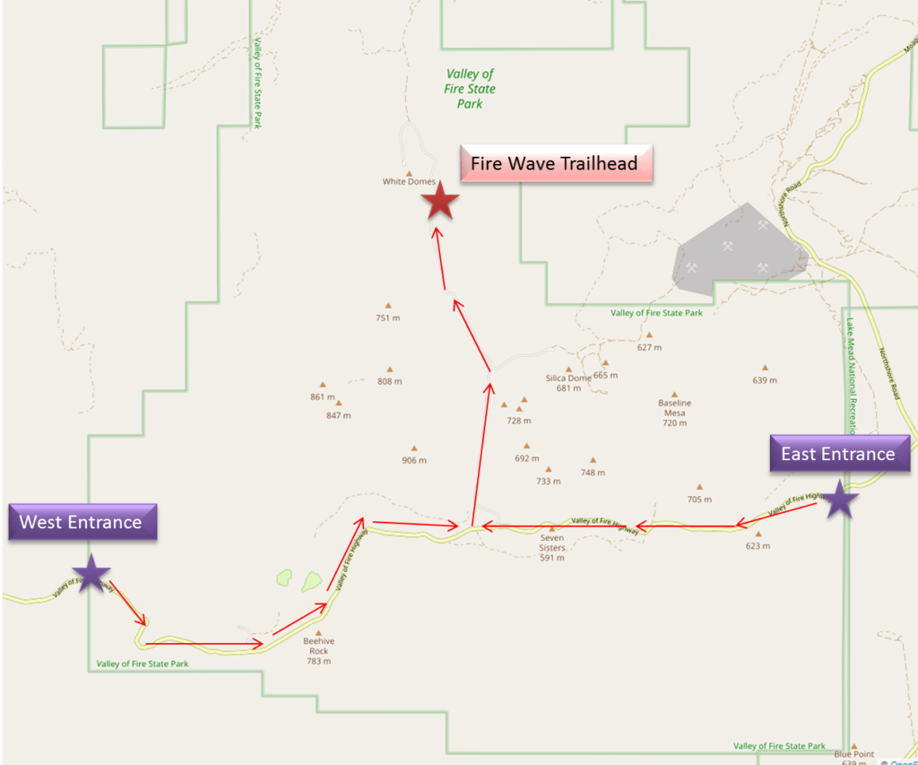 Directions to the Fire wave Trailhead