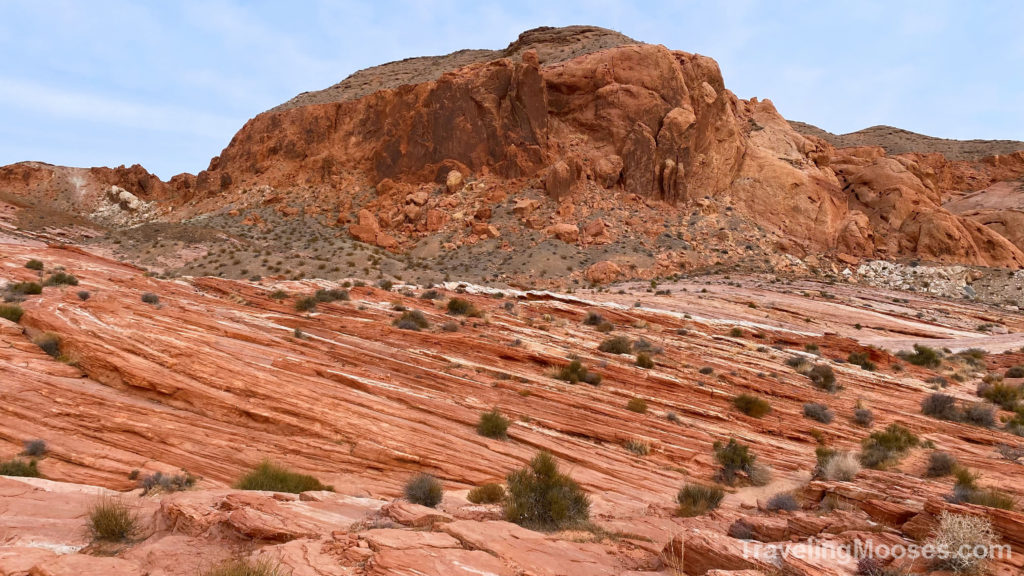 Red sandstone on fire wave trail