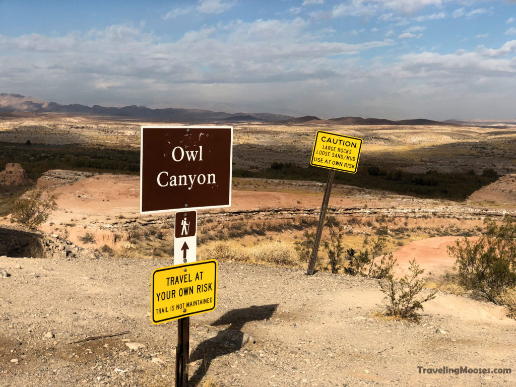 Owl Canyon trailhead warning signs