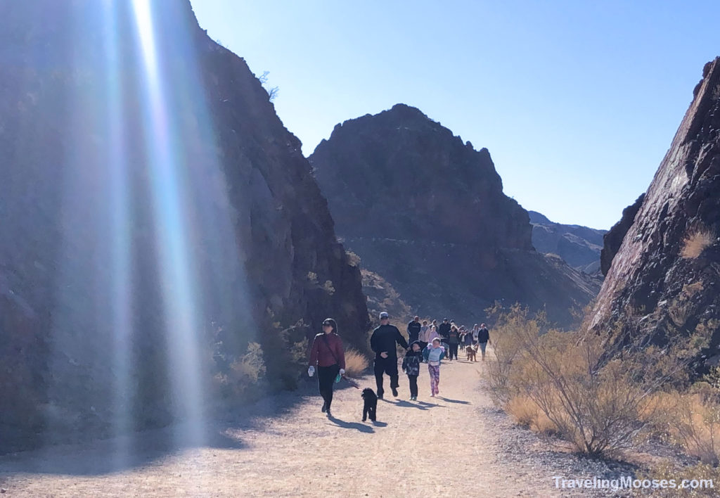 Busy crowds at historic railroad trail hike