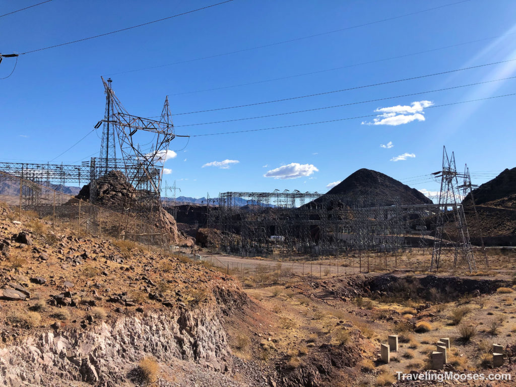 Electricity towers on railroad historic trail
