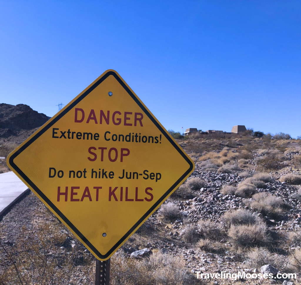 Heat Kills Sign on Historic Railroad Trail warning not to hike Jun - Sep