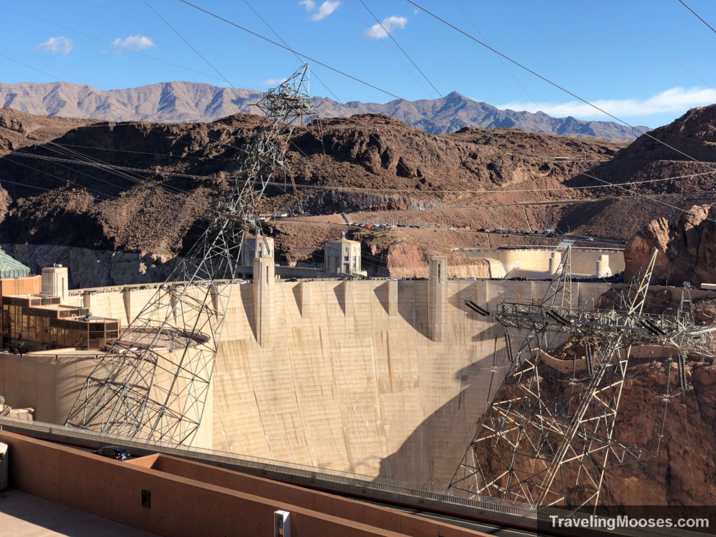 Hoover Dam seen from visitor parking lot