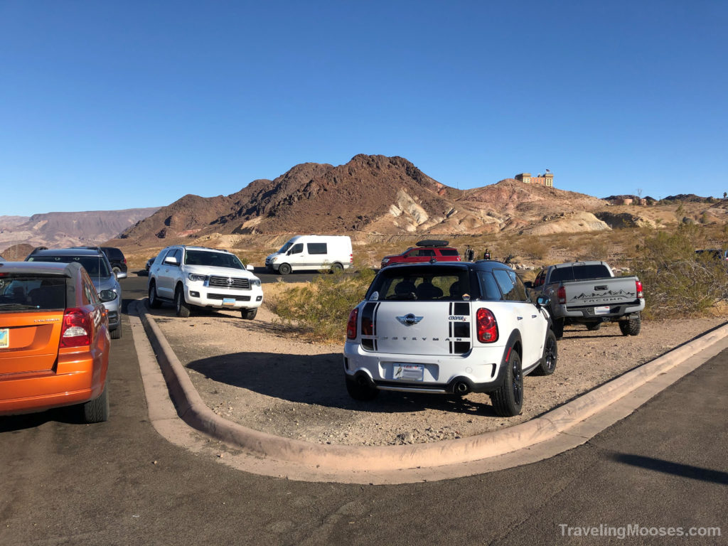 Parking lot at historic railroad trail
