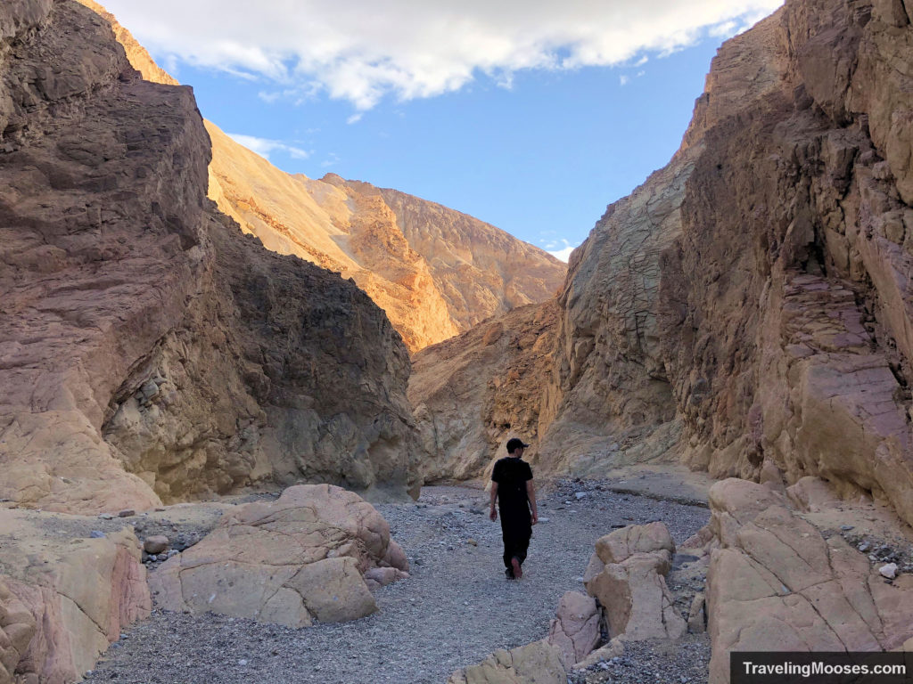 Man walking in Gower Gulch Canyon loop