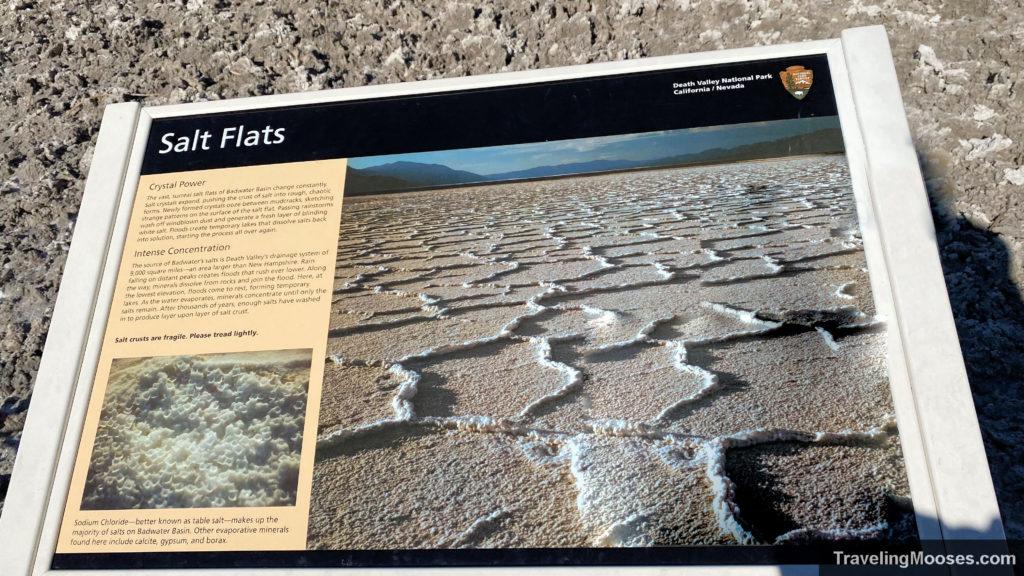 Interpretive sign at Salt Flats in Badwater Basin