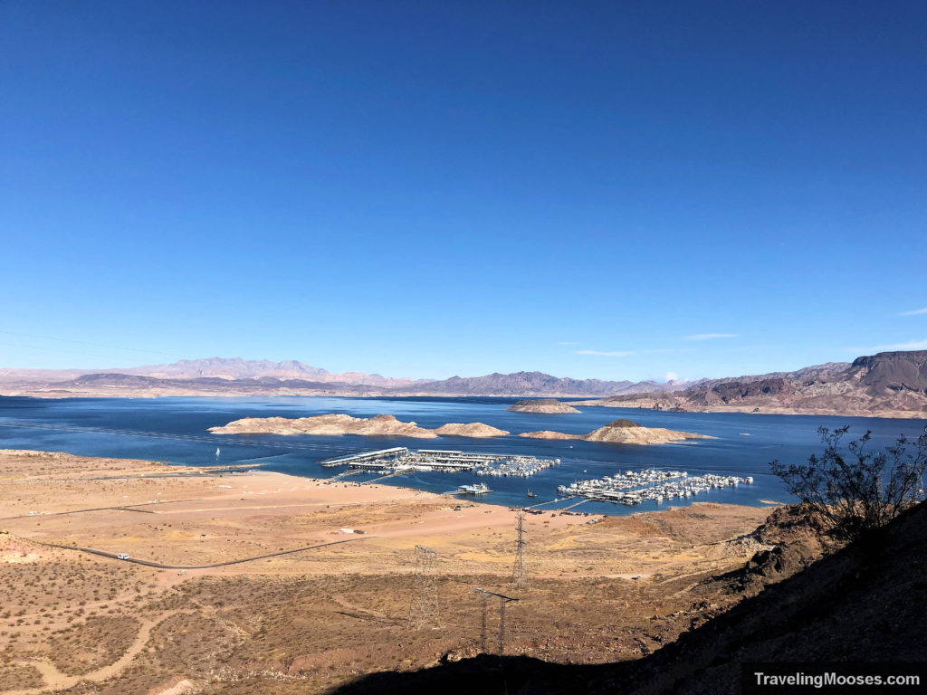 Lake Mead see from historic railroad trail hike with marina in the background