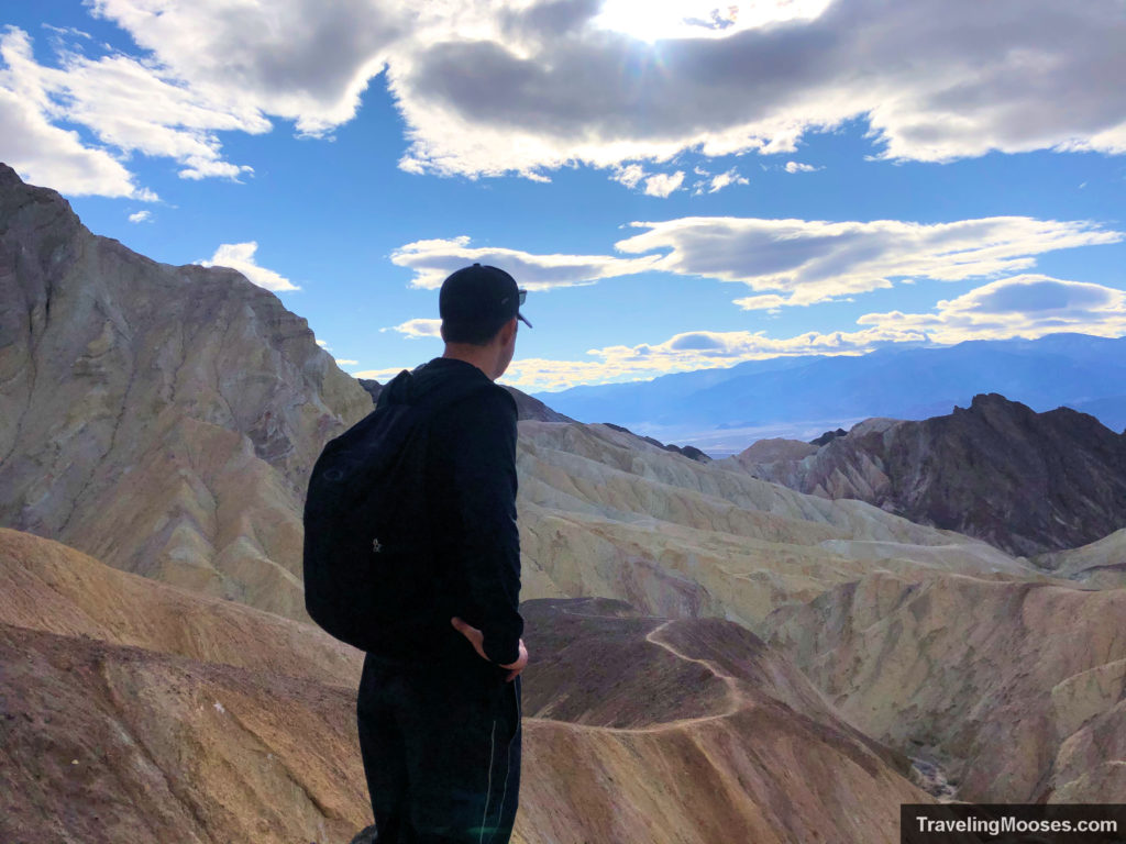 Man viewing death valley from Red Cathedral overlook