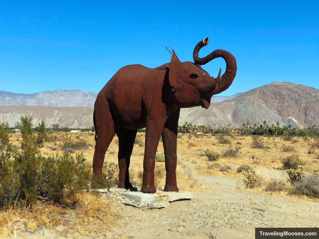 Elephant sculpture in galleta meadows