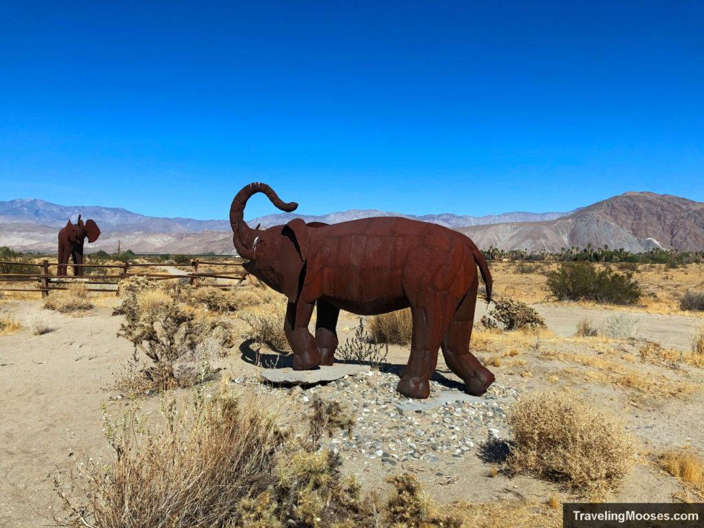 Baby elephant sculpture borrego springs