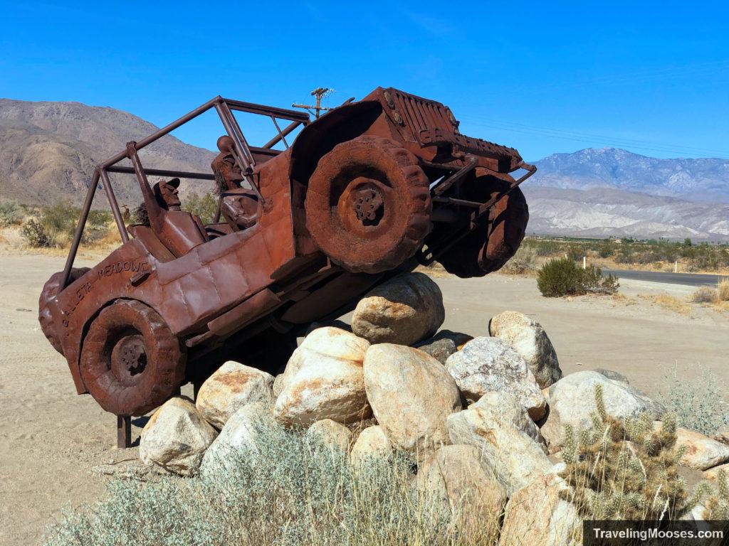 Metal jeep sculpture in borrego springs
