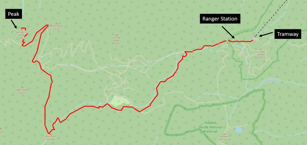 San Jacinto hiking trail map