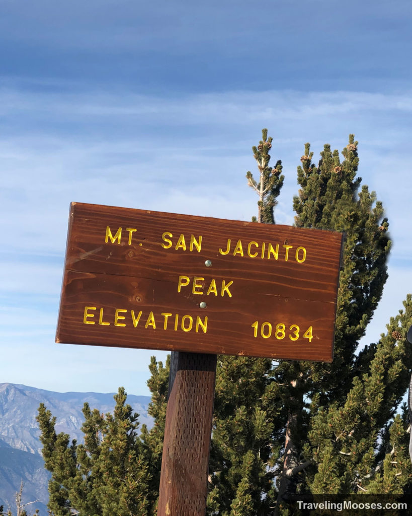 Mt San Jacinto summit trail sign