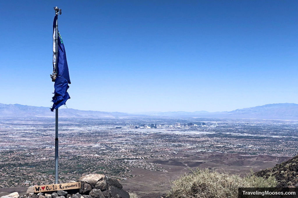 Blue Nevada State Flag with las vegas in the distance