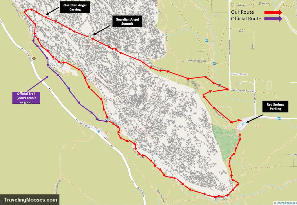 Guardian Angel Trail loop map