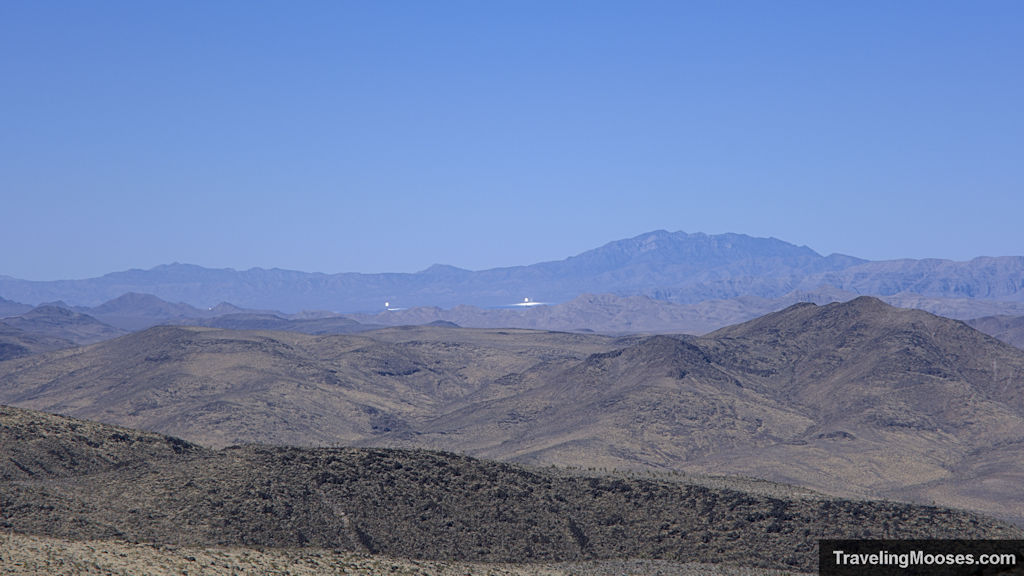 Ivanpah solar photovoltaic power plant in the distance