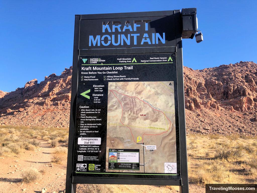 Kraft mountain loop trailhead sign