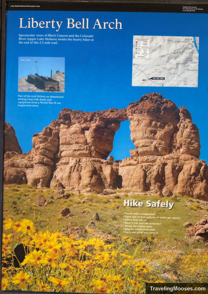 Liberty Bell Arch trail sign at parking lot