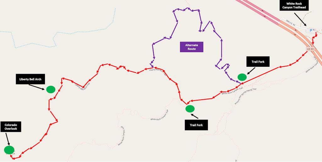 Liberty Bell Arch trail map