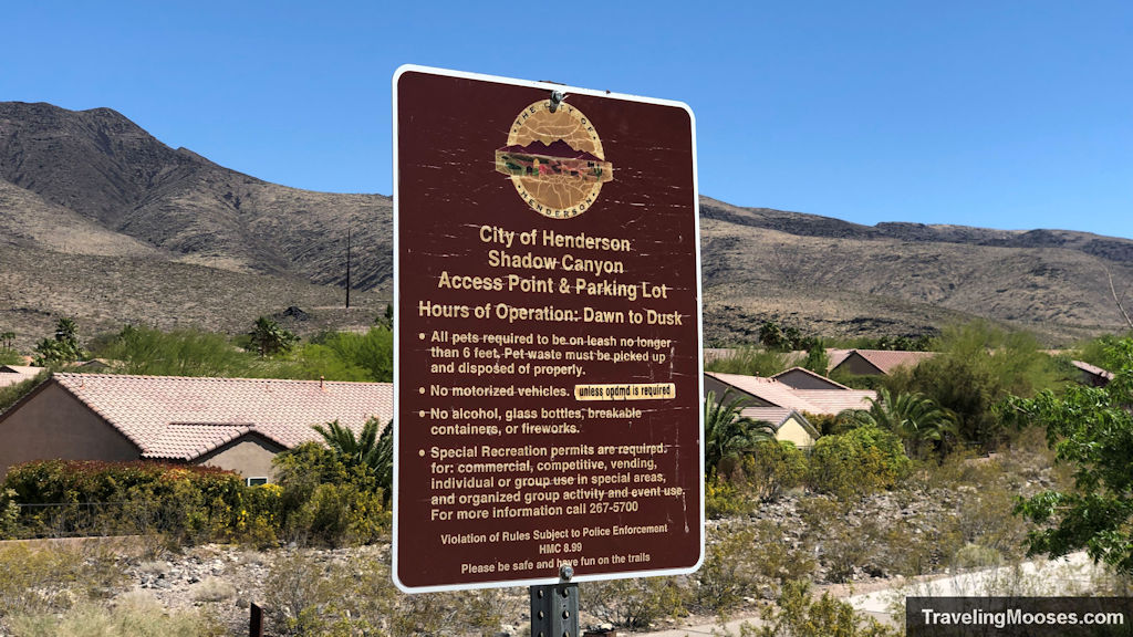 Shadow Canyon Access Point Trial Sign