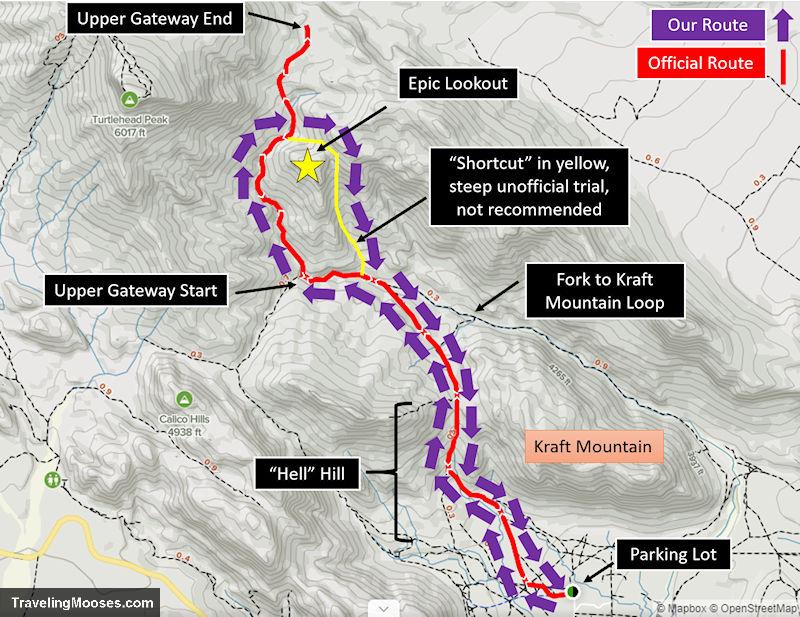 Upper Gateway hiking trail map