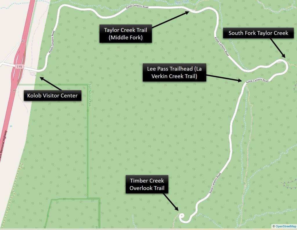 Kolob Canyon Park Map with points of interest