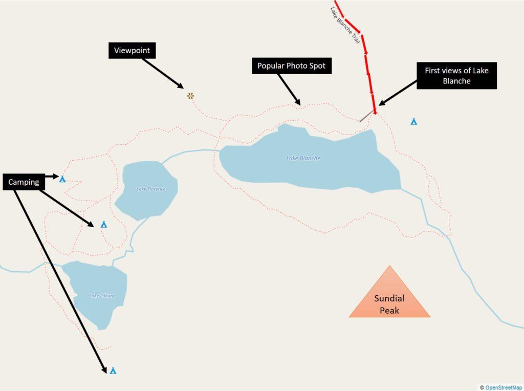 Lake Blanche, Lake Lillian and Lake Florence Trail Map