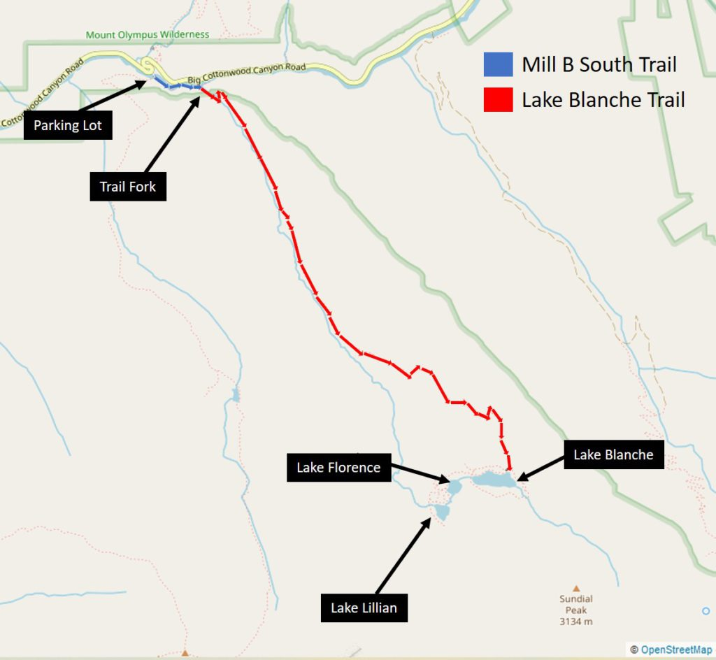 Map from parking lot of Mill B south trail to Lake Blanche and the base of Sundial peak