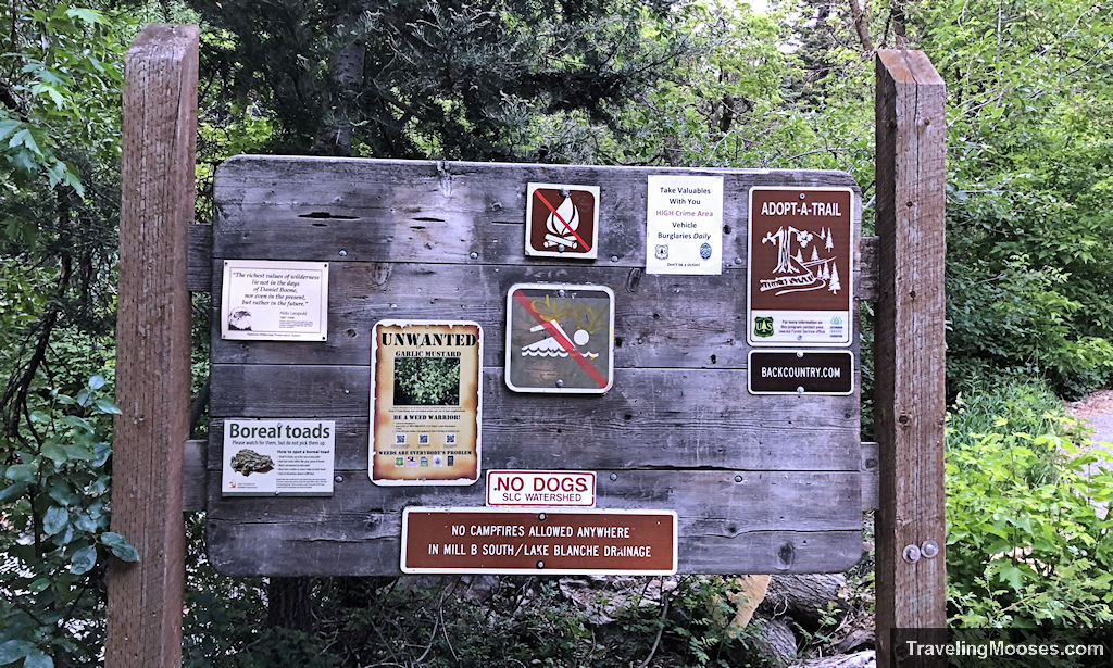 Sign board in Mill B South parking lot with rules and regulations of hike