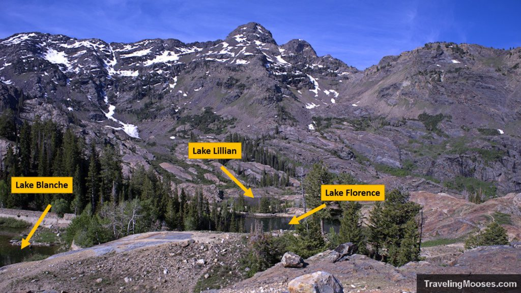 Mountain lakes of Lillian, Florence and Blanche seen