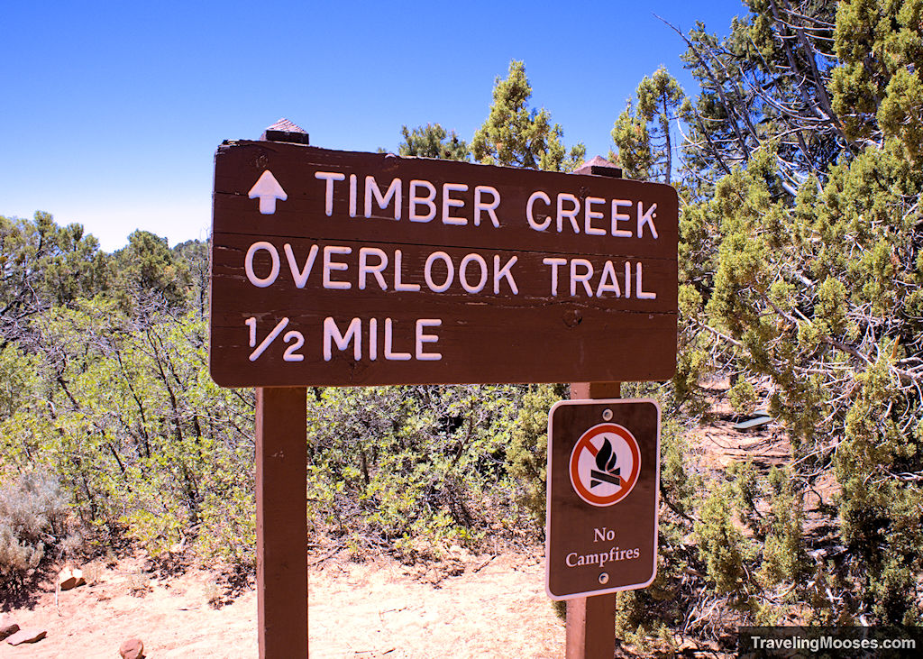 Timber Creek Overlook Trail 1/2 mile sign