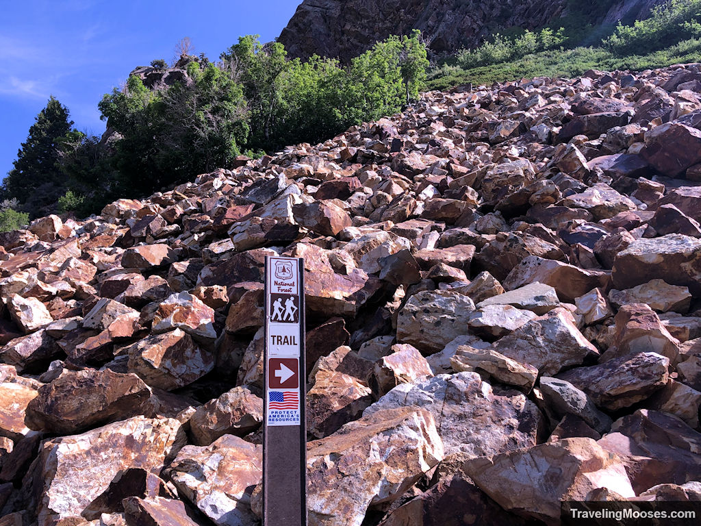 Trail marker leading the way through a rock fall in Wasatch forest