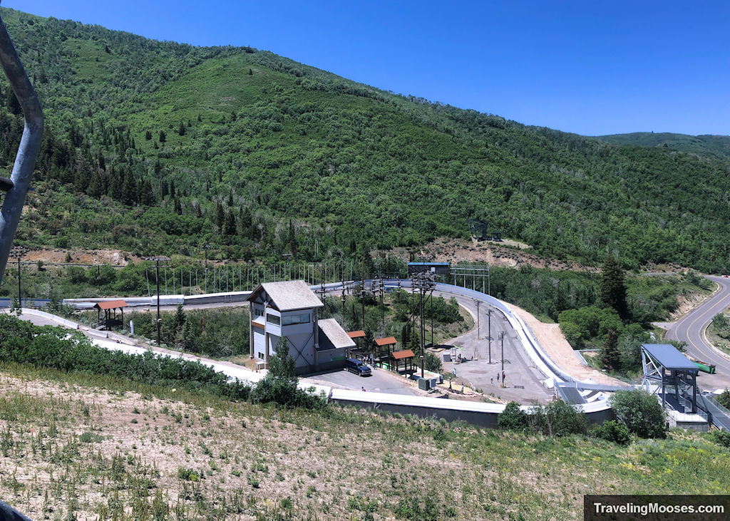 view of bobsled track from nordic scenic chairlift