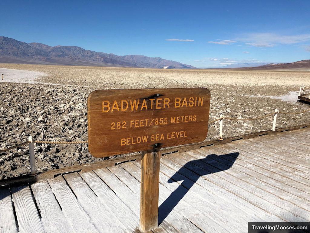 Badwater Basin sign indicating 282 feet below sea level