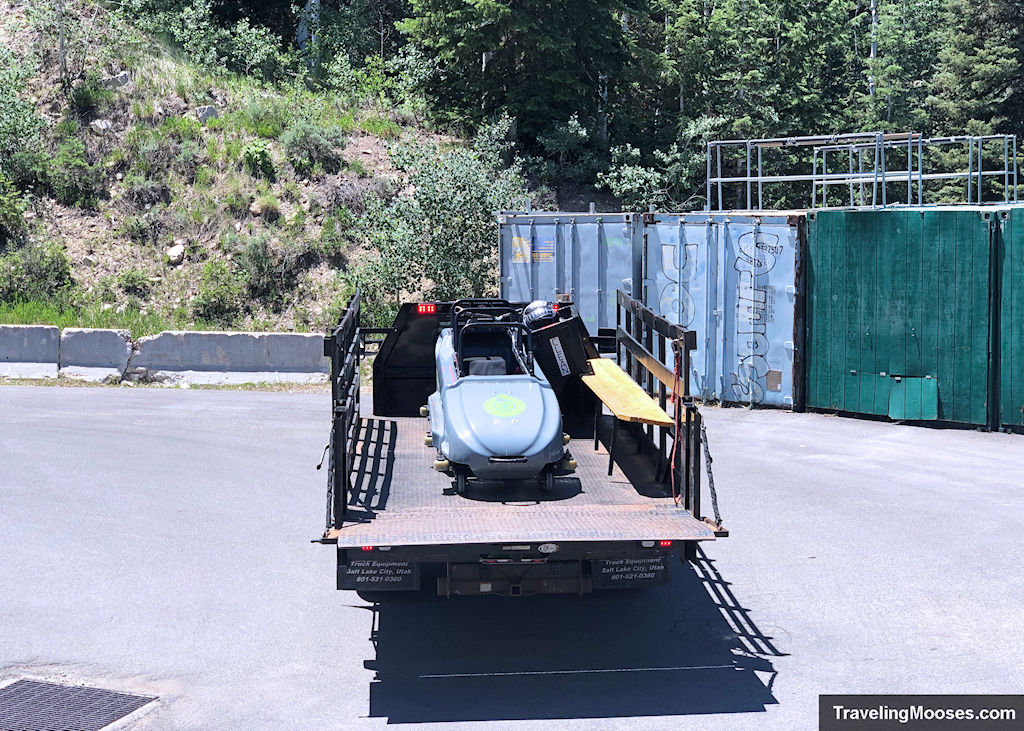 Bobsled delivered in back of a truck at Utah Olympic Park