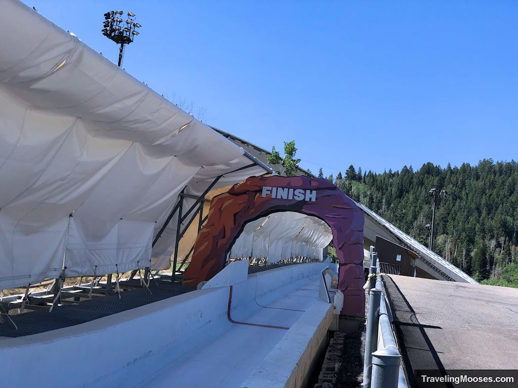 Bobsled track finish at Utah Olympic Park