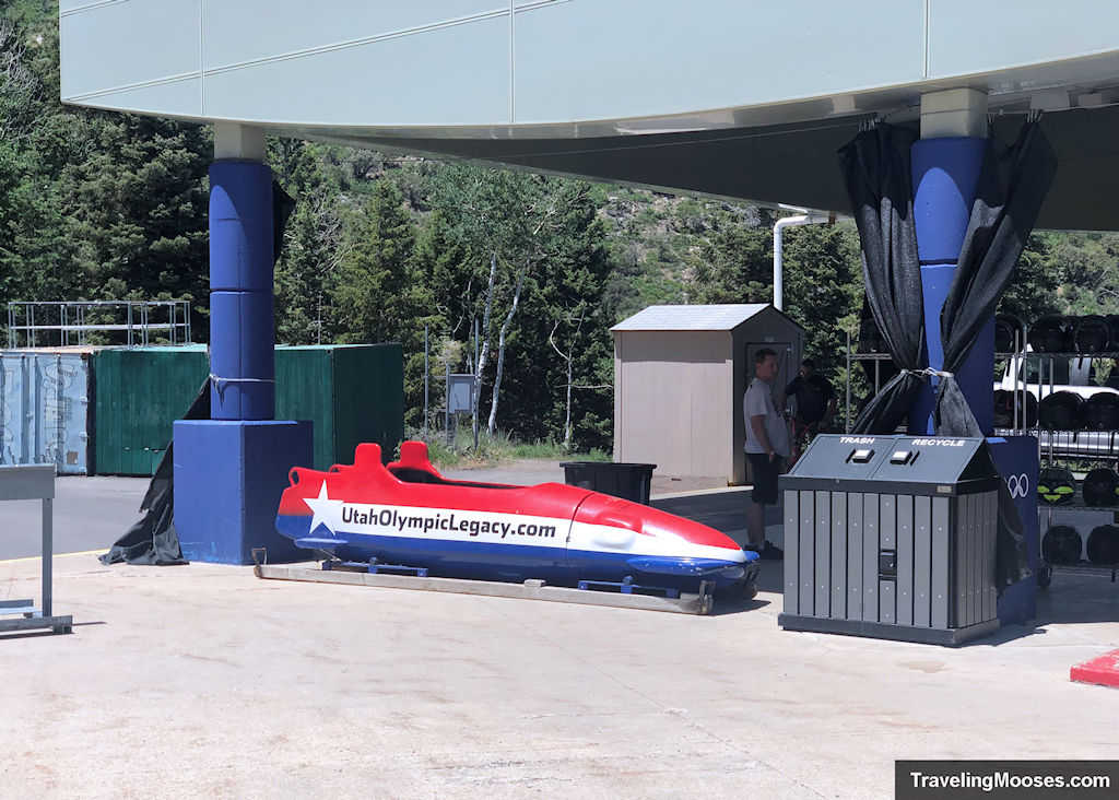 Bobsled replica for photo op at bobsled experience