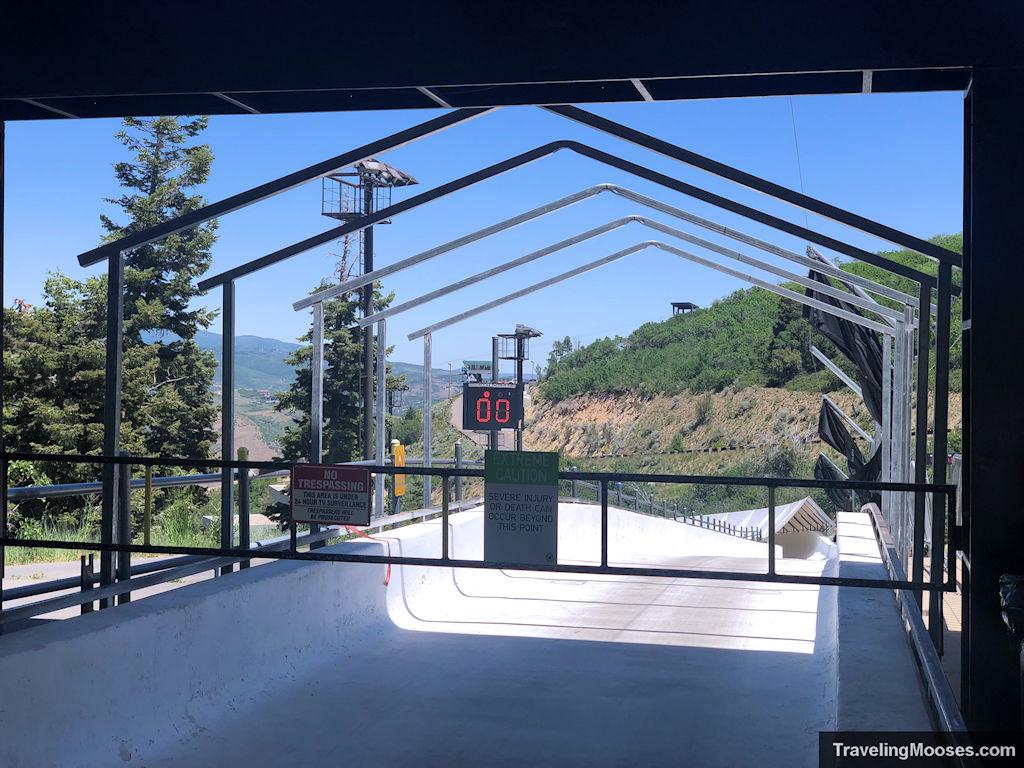 Bobsled track start at Utah Olympic Park