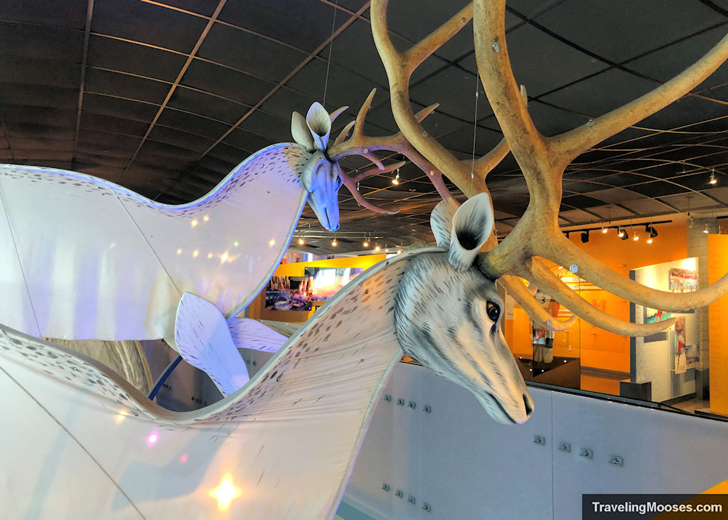 Large Deer puppets from 2002 Olympic games at George Eccles Ski Museum in Utah Olympic park