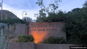 Ensign Peak Nature Park Entrance Sign lite up at night