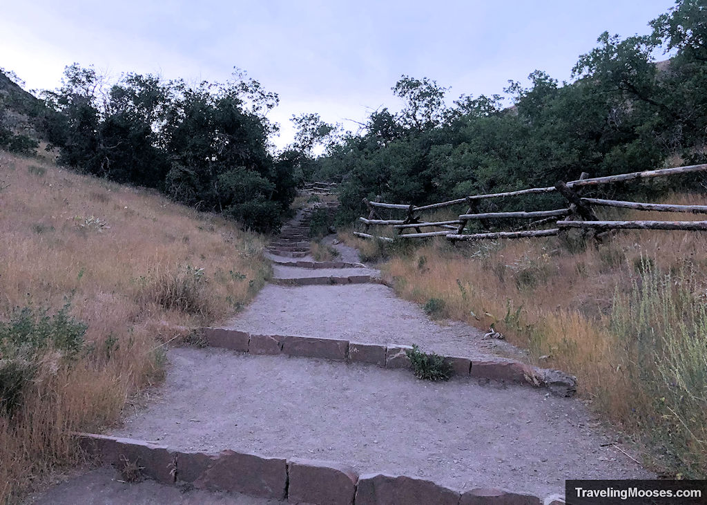 Ensign Peak Trail up stone made steps