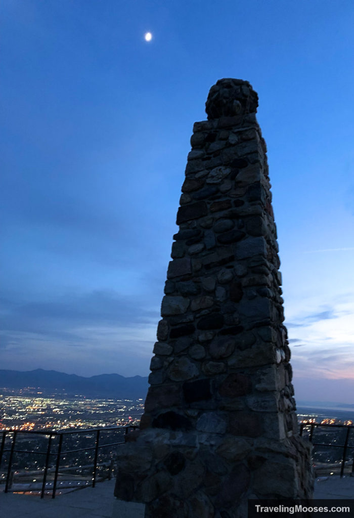 Ensign Peak monument at summit made from aggregate materials