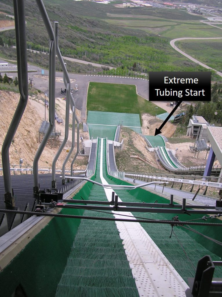 View of Nordic Ski track from top with extreme tubing hill start on the right