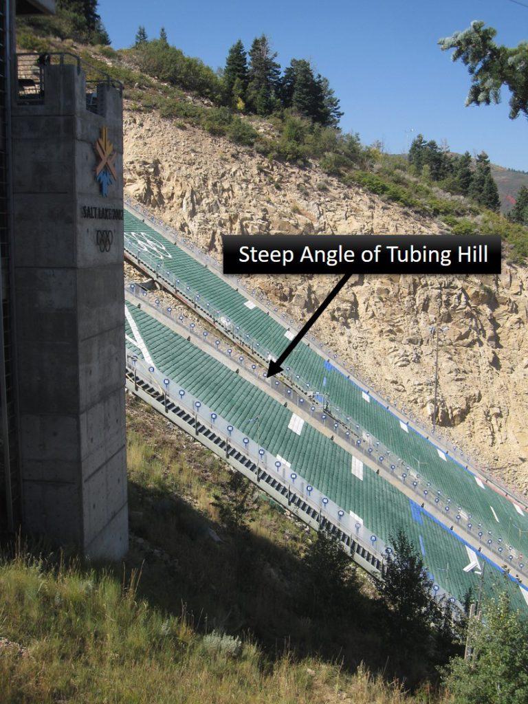 Steep angle of Extreme Tubing hill at Utah Olympic Park in Utah