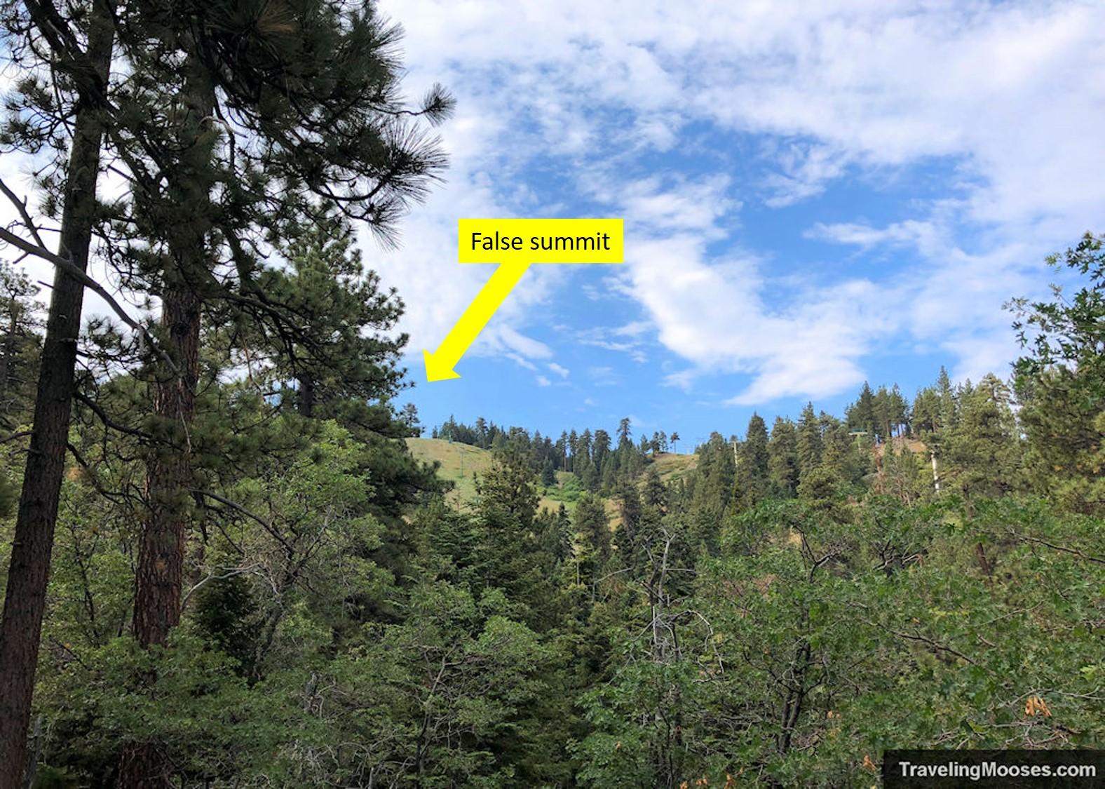 False summit of Bobsled hiking trail